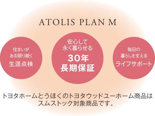 ATOLIS PLAN M(アトリスプランM)の3つの特徴。住まいがある限り続く生涯点検、安心して長く暮らせる30年長期保証、毎月の暮らしを支えるライフサポート。トヨタホームとうほくのトヨタウッドユーホーム商品はスムストック対象商品です。